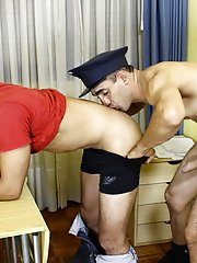 Ass licking at the interrogation room