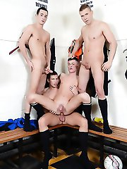 Staxus - Sportladz: Cute Twink Gets Three Cocks For The Price Of One – Not To Mention Oodles Of Pent-Up Cum!